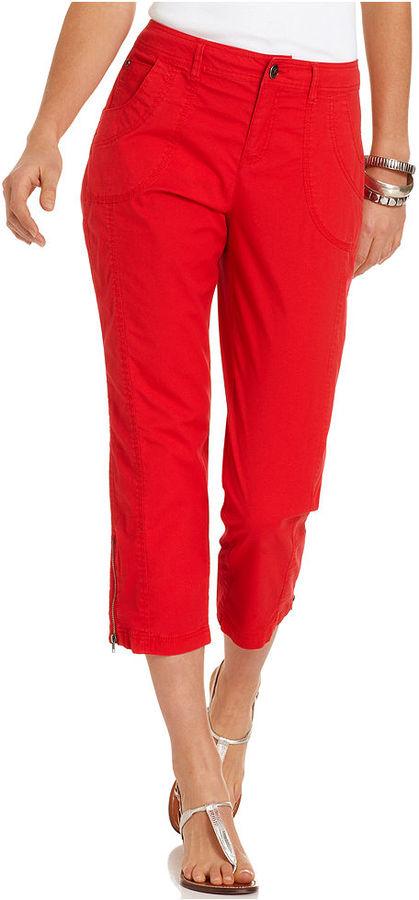 Style&Co. Pants, Straight-Leg Zippered Capri