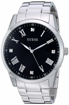 GUESS Stainless Steel Bracelet Watch with Black Genuine Diamond Dial + Roman Numerals. Color: Silver-Tone (Model U1194G1)