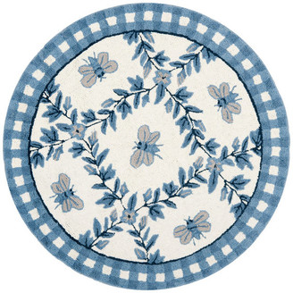 Safavieh Chelsea Collection HK55 Rug, Ivory/Blue, 4' Round