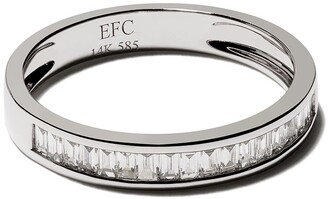 Ef Collection 14kt White Gold Half Diamond Channel Set Baguette Stack Ring