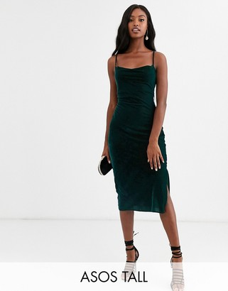 Asos Tall DESIGN Tall cami midi slip dress in velvet with lace up back-Green