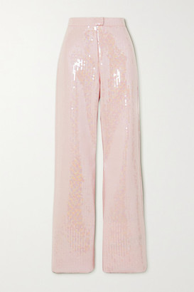 RALPH & RUSSO Sequined Satin-crepe Wide-leg Pants - Baby pink