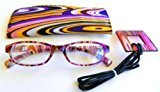 Foster Grant (2 PACK Magnivision (+1.25) Purple Multi-Color Design Reading Glasses with Case- M38
