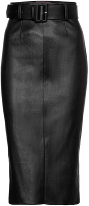 STOULS Megan belted leather midi skirt