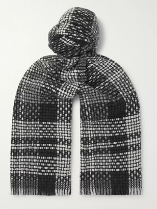 Mr P. Fringed Checked Cashmere Scarf - Men - Gray