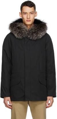 Yves Salomon Army Black Lustre Bachette Fur Parka