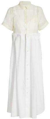 Sacai Mixed-Media Organza & Cotton Poplin Shirtdress