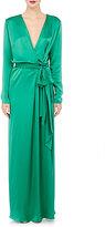 Lanvin WOMEN'S SATIN ASYMMETRIC ZIP-FRONT GOWN-GREEN SIZE 34 FR