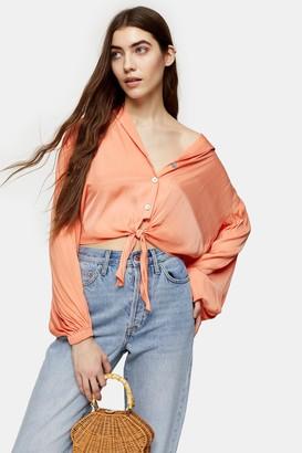 Topshop Coral Satin Tie Front Shirt