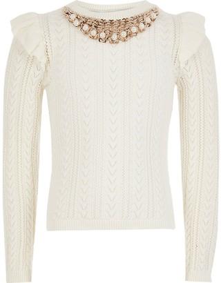 River Island Girls ecru embellished neck knitted jumper