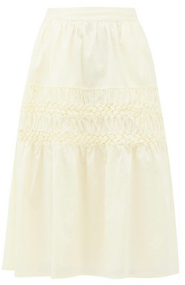 Merlette New York Castell Smocked Cotton-lawn Skirt - Light Yellow
