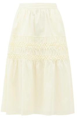 Merlette New York Castell Smocked Cotton-lawn Skirt - Womens - Light Yellow
