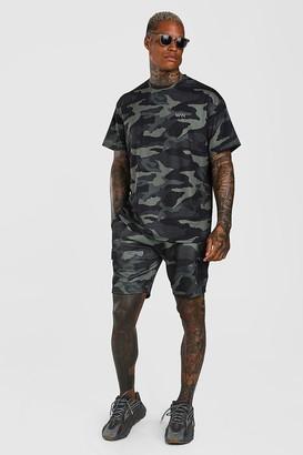 boohoo Mens Green Loose Fit Camo Cargo T-Shirt & Short Set, Green