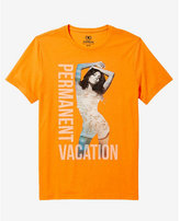 Express orange permanent vacation graphic t-shirt