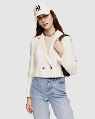 Topshop Crop Double-Breasted Suit Blazer