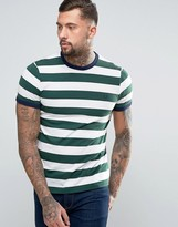 Fred Perry Striped Ringer T-Shirt in Green