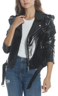 Vigoss Patent Faux-Leather Moto Jacket