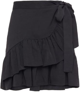 Maje Jahima Wrap-effect Ruffled Woven Mini Skirt