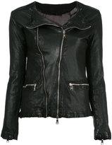 Giorgio Brato zip up jacket - women - Cotton/Leather/Nylon - 40