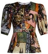 Erdem Evelia round neck contrast print velvet top