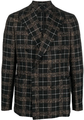Tagliatore Metallic Check Wool Blazer