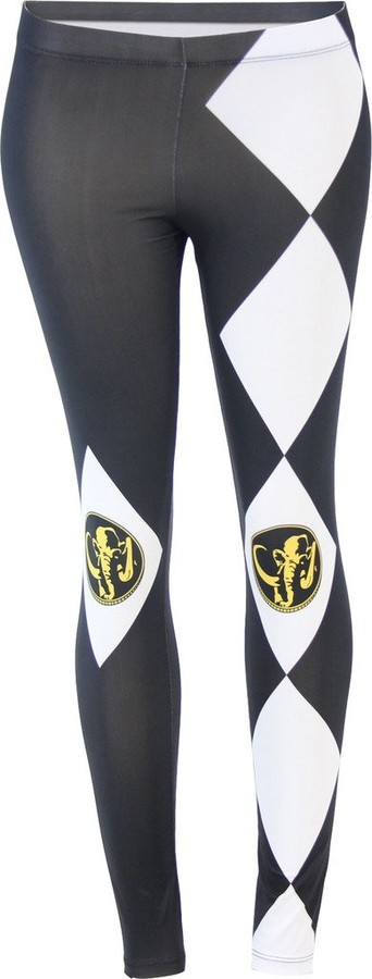 Mighty Fine The Power Rangers Black Ranger Leggings (Juniors Medium)