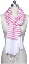 Saachi Fringed Striped Scarf, Red & White - Red/White