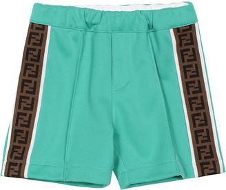 Fendi Boy's Logo-Tape Pleated Track Shorts, Size 12-24M