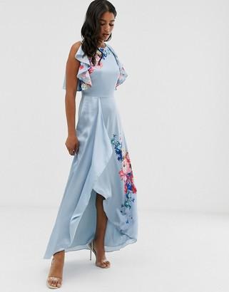 Ted Baker Fredila maxi dress in raspberry ripple print-Blue