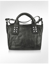 Nisha - Black Croco Stamped Leather Studded Bag