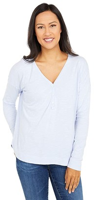 Mod-o-doc Slub Jersey Drop Shoulder Long Sleeve Boxy Henley (Pale Peri) Women's Clothing