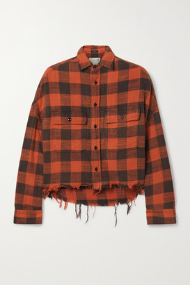 R 13 Cropped Distressed Checked Cotton-flannel Shirt - Red