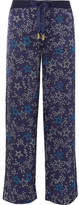 Paloma Blue Galaxy Printed Washed Silk-satin Straight-leg Pants