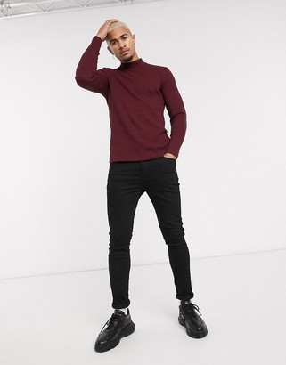 Bershka Join Life waffle long sleeved top with turtle neck in burgundy