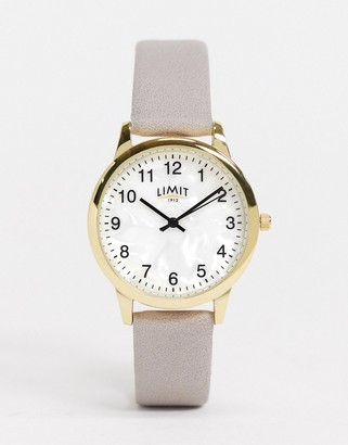 Limit leather watch in gray with white dial