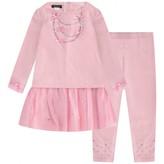 Kate Mack Kate MackBaby Girls Pink Diamante Dress & Leggings Set