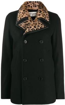 Saint Laurent Leopard Print Collar Double-Breasted Coat