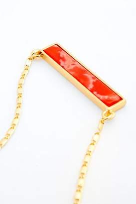 francesca's Kassidy Stone Bar Pendant Necklace - Coral
