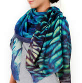 Lenox Lincoln + Gift For Her, Cashmere Silk Printed Scarf, Peacock