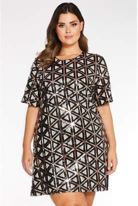 Quiz Curve Multicoloured Sequin Cap Sleeve Tunic Dress