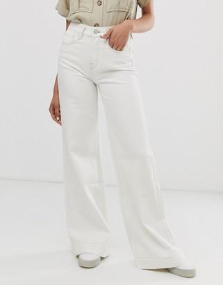 Tomorrow Denim Tomorrow organic wide leg flare jean in ecru-White