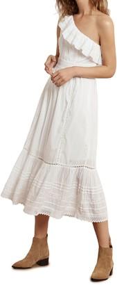 Velvet by Graham & Spencer Lace Panel One-Shoulder Ruffle Midi Dress