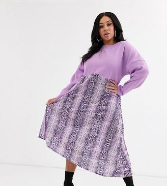 ASOS DESIGN Curve sweat dress with lilac snake print hem