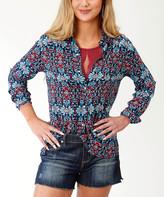 Roper Women's Blouses BLUE - Blue Sunset Tapestry Button-Up - Women & Plus
