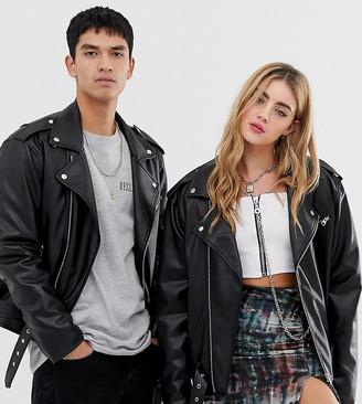 Reclaimed Vintage inspired unisex PU biker jacket