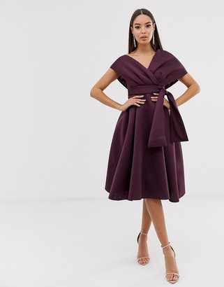 ASOS DESIGN fallen shoulder midi prom dress with tie detail in aubergine
