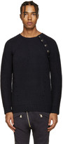 Pierre Balmain Navy Ribbed Sweater