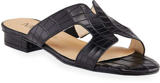 Neiman Marcus Belita Croc-Print Caged Slide Sandals