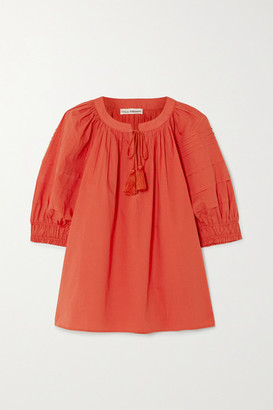 Ulla Johnson Arin Tasseled Cotton Top - Coral