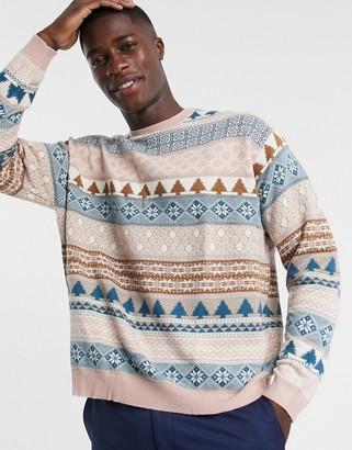 ASOS DESIGN knitted oversized fairilse design sweater in lilac